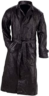 Giovanni Navarre Italian Stone Design Genuine Leather Black Trench Coat size Large