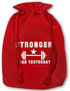Stronger Than Yesterday Velvet Christmas Gift Bag 14