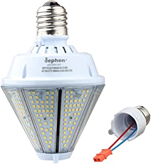 dephen 80W LED Corn Light Bulb with Removable E39 & E26 Base, Output 5000K 10400Lm, Cone Led Down Light Replacement for 250W High Bay Post Top Warehouse Garage Canopy Porch Wall Light (UL-Listed)