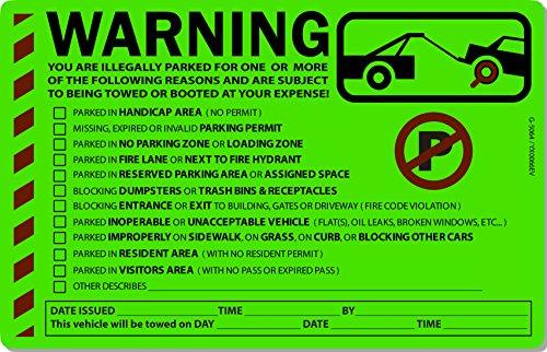 "50 Green Fluorescent MULTI-REASON Warning Stickers 8"" X 5"""