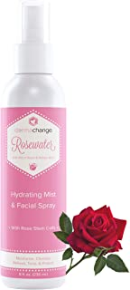 Organic Rose Water Toner Spray with Witch Hazel - Aloe Vera and Willow Bark - For Face With Fresh Rose Scent - Pore Minimizer Rosewater Makeup Setting Spray - Sensitive Skin - Alcohol Free (8 oz)