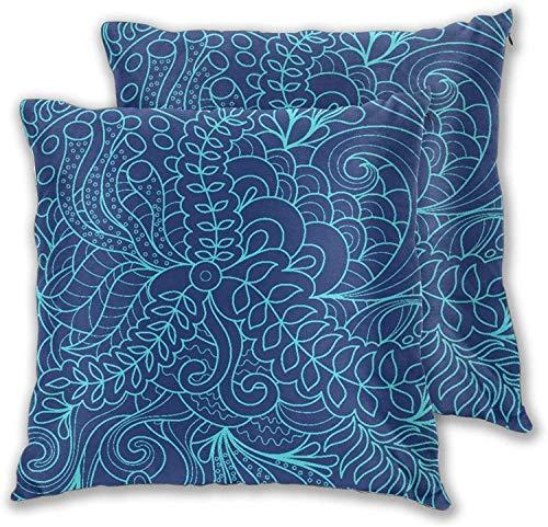 'N/A' Juego de 2 fundas de almohada (juego de 2) colores brillantes y abstractos psicodélicos, coloridos, creativos, con puntos curvos, decorativos, cuadrados, 40,6 x 40,6 cm