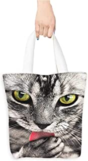 Folding Shopping Bag Tiger spotted cat(W15.75 x L17.71 Inch)
