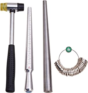 PandaHall Elite 4 Sets Ring Mandrel Sizer Tool with Metal Mandrel Finger Sizing Measuring Stick US 0-15 and Ring Sizer Guage of 27 Pcs Circle Models Jewelry Sizer Tool and Rubber Jewelers Hammer