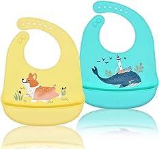 Baberos Bebé Silicona Impermeable,Baberos de Alimentación Niña Niños Pequeños Unisex con Bolsillo Súper Suave Fáciles de Lavar Animales Ajustable Reutilizables Recolector Migas de Alimentos-3 Piezas