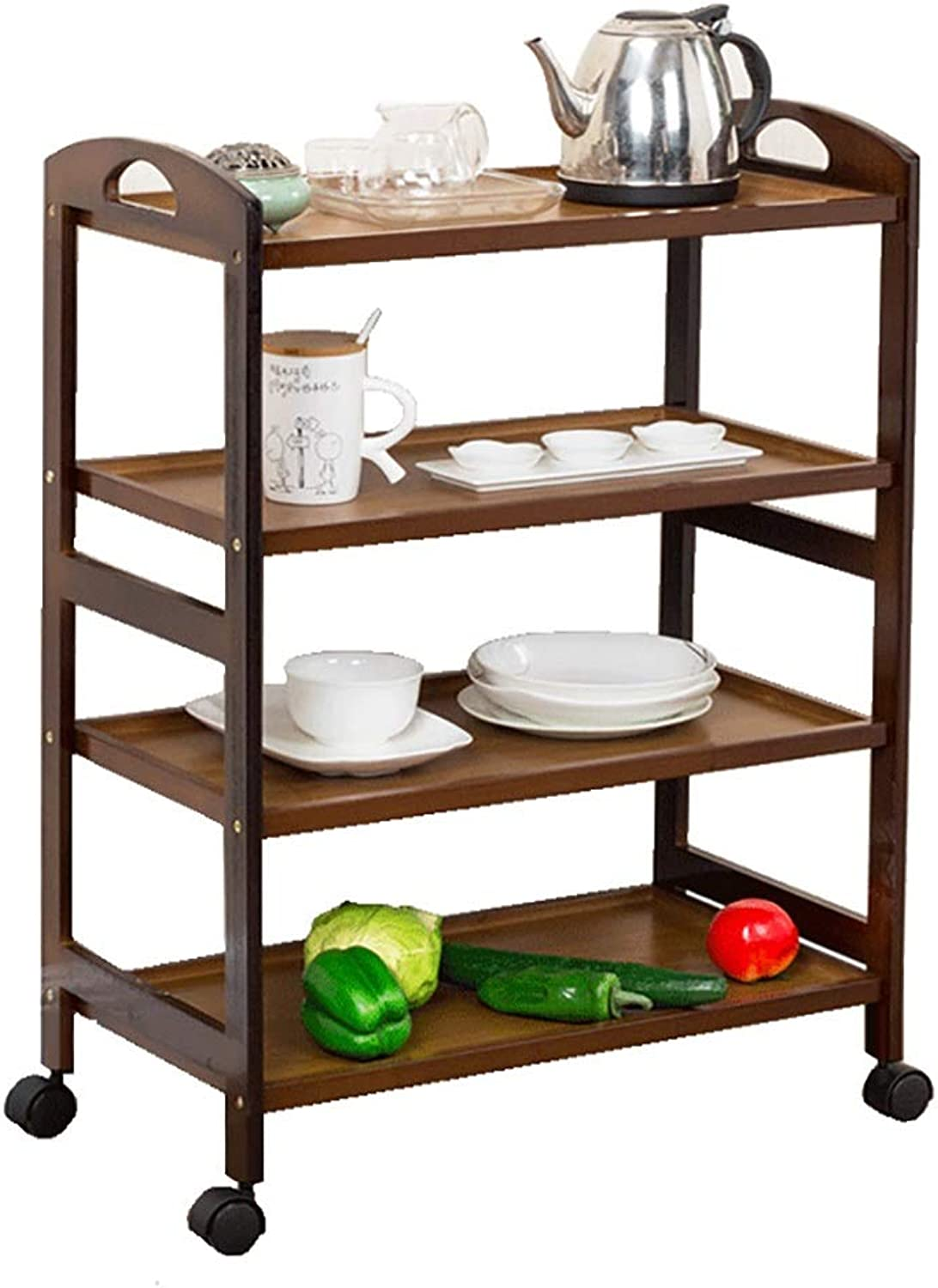 3 4-tier Bathroom Kitchen Storage Trolley with Wheels, Multifunctional, Universal Storage Cart Wood Movable