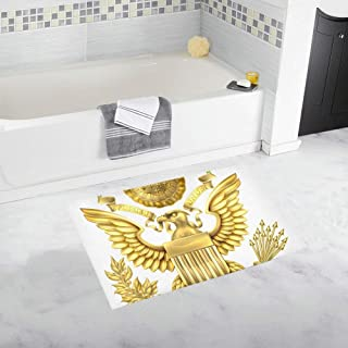 Gold Great Seal of The United States American Eagl Custom Non-Slip Bath Mat Rug Bath Doormat Floor Rug for Bathroom 20 X 32 Inch