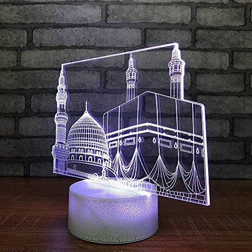Lámpara 3D Lámpara de noche LED Mesa táctil Lámpara de Arquitectura urbana 7 Colores Lámpara de ilusión óptica Con control remoto es el regalo perfecto para la navidad de los niños