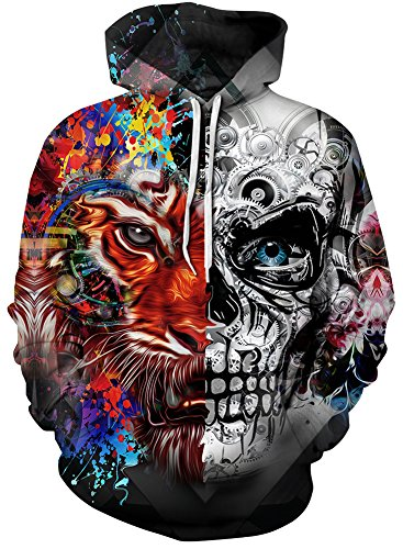 EmilyLe Men's Galaxy Outdoor Hoodies 3D Animal Print Pullover Long Sleeve Jumpers Graphic Sweatshirt (L/XL, Tiger & Skull)
