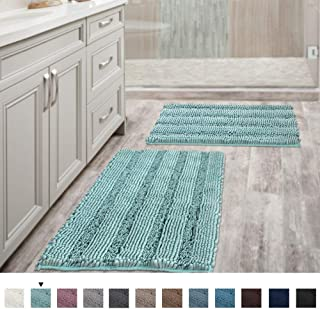 """Non Slip Thick Shaggy Chenille Bathroom Rugs, Bath Mats for Bathroom Extra Soft and Absorbent - Striped Bath Rugs Set for Indoor/Kitchen (Set of 2-20"""" x 32""""/17"""" x 24"""") Eggshell Blue"""