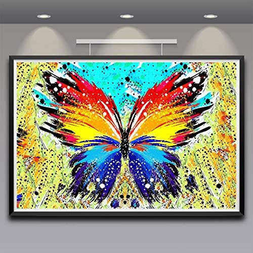 N / A Pintura sin Marco Arte Colorido Mariposa Arte Seda Cartel clásico Pared decoración del hogar pintura60X90cm