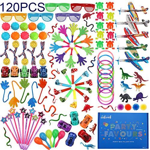 nicknack Favores de Fiesta para niños, 120 Piezas de premios de Carnaval Juguetes a Granel, Surtido de Juguetes de Relleno de piñata para niños Niñas Fiesta de cumpleaños Regalo Cofre del Tesoro