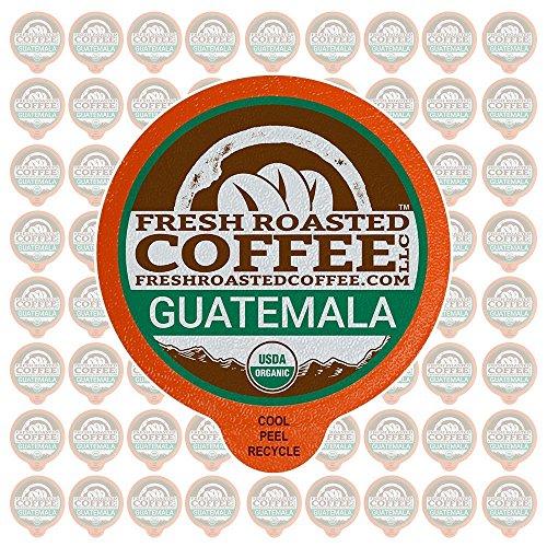 Fresh Roasted Coffee LLC, Organic Guatemalan Huehuetenango Coffee Pods, Medium Roast, Single Origin, Fair Trade, USDA Organic, Capsules Compatible with 1.0 & 2.0 Single-Serve Brewers, 72 Count