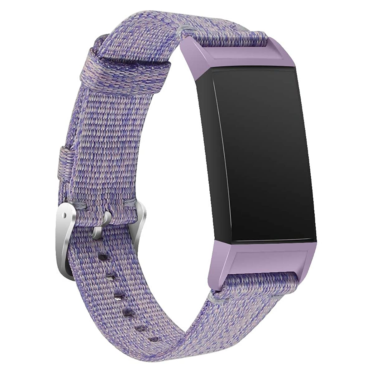 なかなか可能にする資源Arkgo for Fitbit Charge 3 バンド しいナイロン スポーツループバンド ストラップ交換バンド ウォッチ Fitbit Charge 3 対応 (パープル)