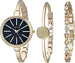 Women's Wrist Watches with Gold Band Charm Gold Bracelet Set