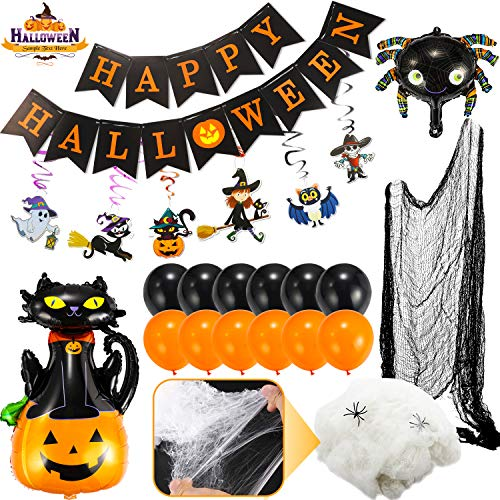 Flyfun 44 Piezas Juego de Decoración de Halloween Accesorios con Banner de Feliz Halloween, Tela de Araña de Terror, Tela Espeluznante, Globos Naranjas y Negros, Adornos Colgantes de Cinta en Espiral