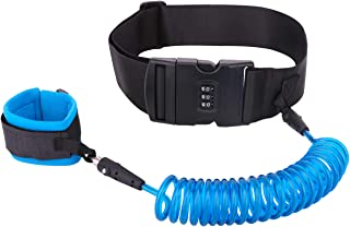 Anti Lost Waist Belt with Lock, Zooawa Kids Outdoor Safety Wristband, Harness Leash Waist Link for Children Toddlers, 2M Blue