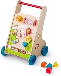 RiZKiZ 木製 知育遊び付 手押し車 ベビーウォーカー アクティビティウォーカー 6種類の仕掛け 知育玩具 おもちゃ