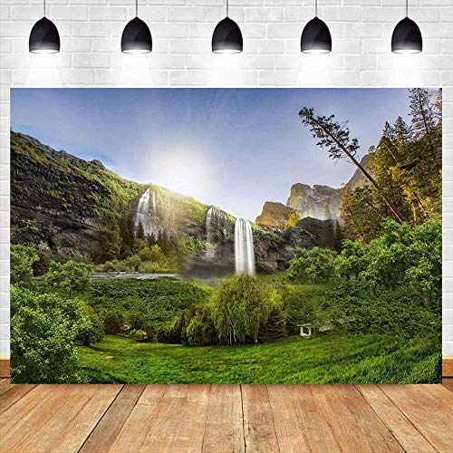 Zhy 7X5FT Beautiful Nature Scenery Backdrop Green Trees Yellow Flowers and Mountain Backdrop Spring Landscape Background for Photography Studio Photo Wallpaper CHE087