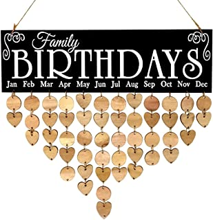 Wooden DIY Calendar - Hanging Plaque Board, Family Birthday Reminder Plate Hanging Ornament Home Decor