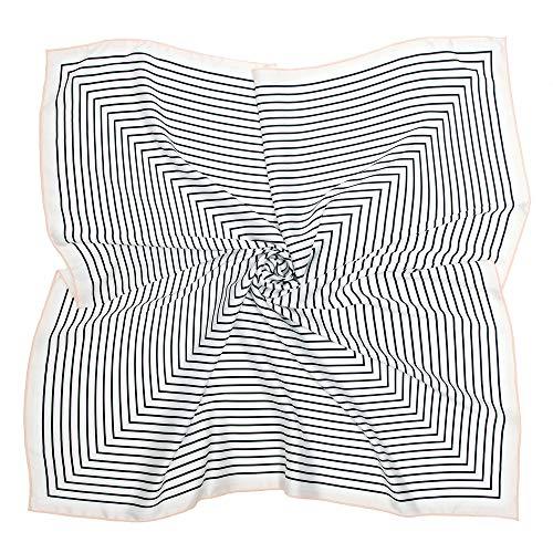 Silk Like Scarf Square Satin Hair Scarf Fashion Maze Neck Scarfs for Women Beige 27'' x 27''
