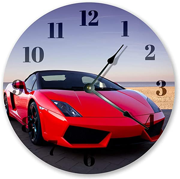 Sugar Vine Art 10 5 Elegant RED Lamborghini Sports CAR Clock Large 10 5 Wall Clock Home D Cor Clock