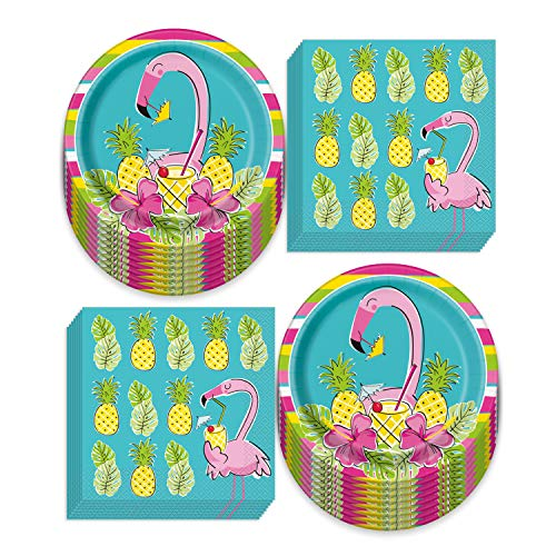 Summer Pineapple Flamingo Party Supplies - Bright Blue and Pink Paper Dinner Plates and Luncheon Napkins (Serves 16)