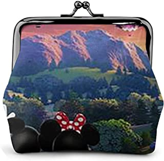 Women's Mickey Mouse Couple Watches Hot Balloon Purse Wallets Buckle Coin Purses Retro Credit Cards Pouch
