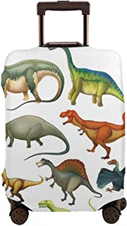 Travel Luggage Cover,Various Different Ancient Animals From Jurassic Period Cartoon Mammals Suitcase Protector