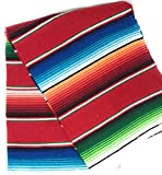 Mexitems Large Authentic Mexican Blanket Colorful Serape Blanket 84' X 60' (Pick Your Color) (Red)