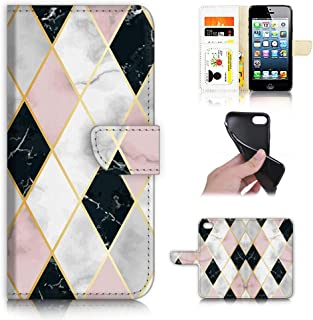 for iPhone 5, iPhone 5S, iPhone SE, Designed Flip Wallet Phone Case Cover, A21954 Marble Pattern