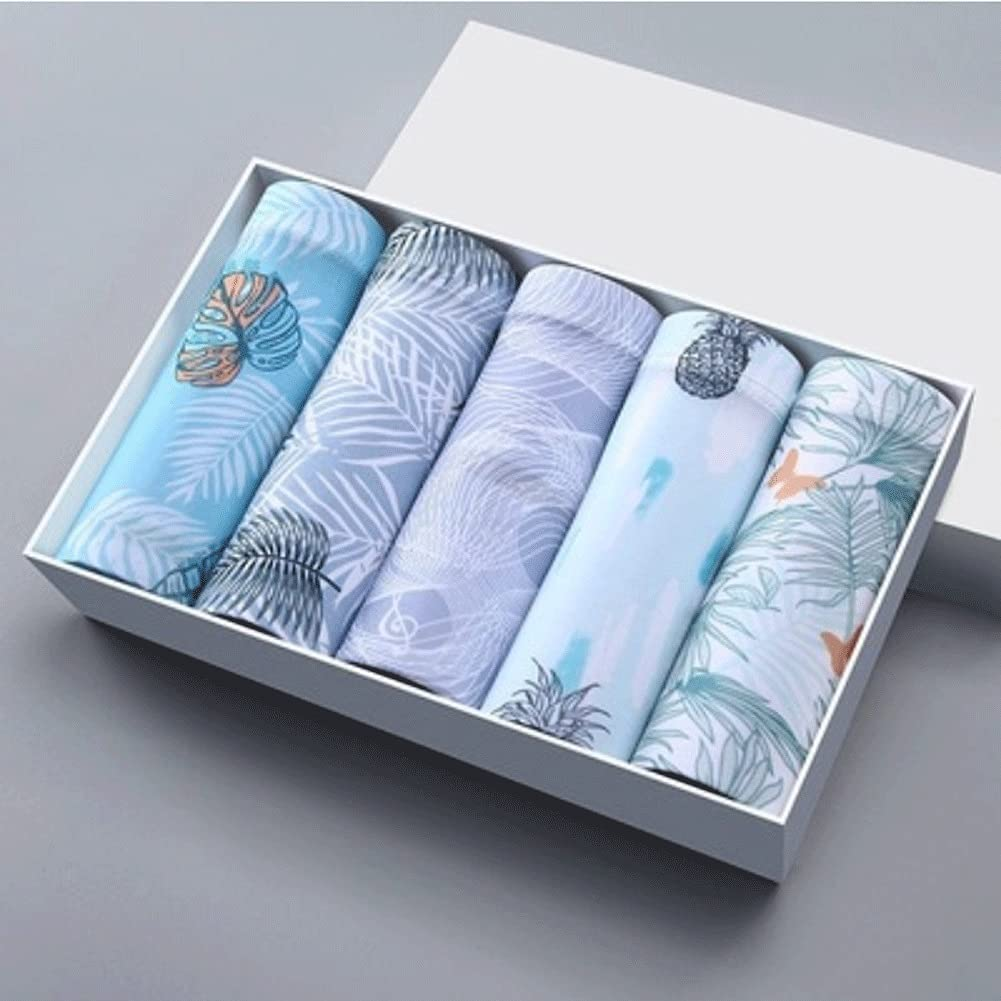 SSMDYLYM 5pcs Boxer Shorts Underpants Men's Boxers Panties Men Boxer Underwear Silk Male (Size : L 45-50KG, Style : Style Four)