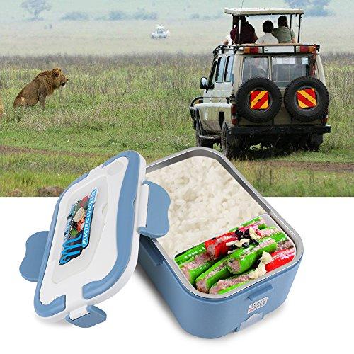 Fiambrera calefactora en acero inoxidable y de 1,5 l para almuerzo, con conexión para coche (12 V/24 V), azul, 24V