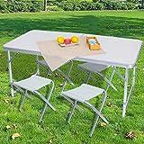 BAKAJI Set Tavolo Tavolino 120 x 70 cm Pieghevole con 4 Sgabelli da PIC Nic per Campeggio SpiaggiaStruttura Tubolare in Alluminio Piano in ABS Sedute in Tessuto Richiudibile Salvaspazio con Maniglia
