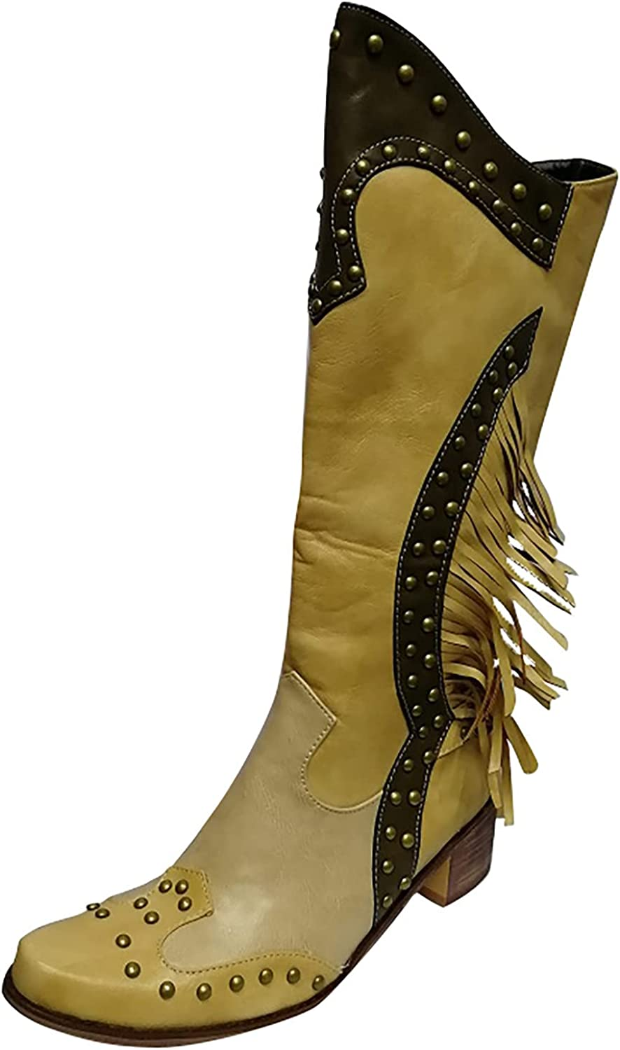 Womens Side Zip Up Tassel Chunky Square Heeled Boots Sexy Faux L