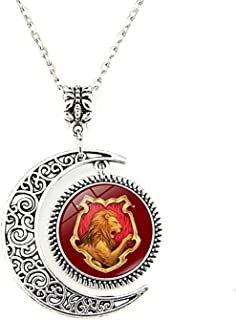 EONGERS Moon Pendant Harry Badge Gryffindor Lion Red Gold Wilderness Charm Crescent Necklace Jewelry Gift for Women