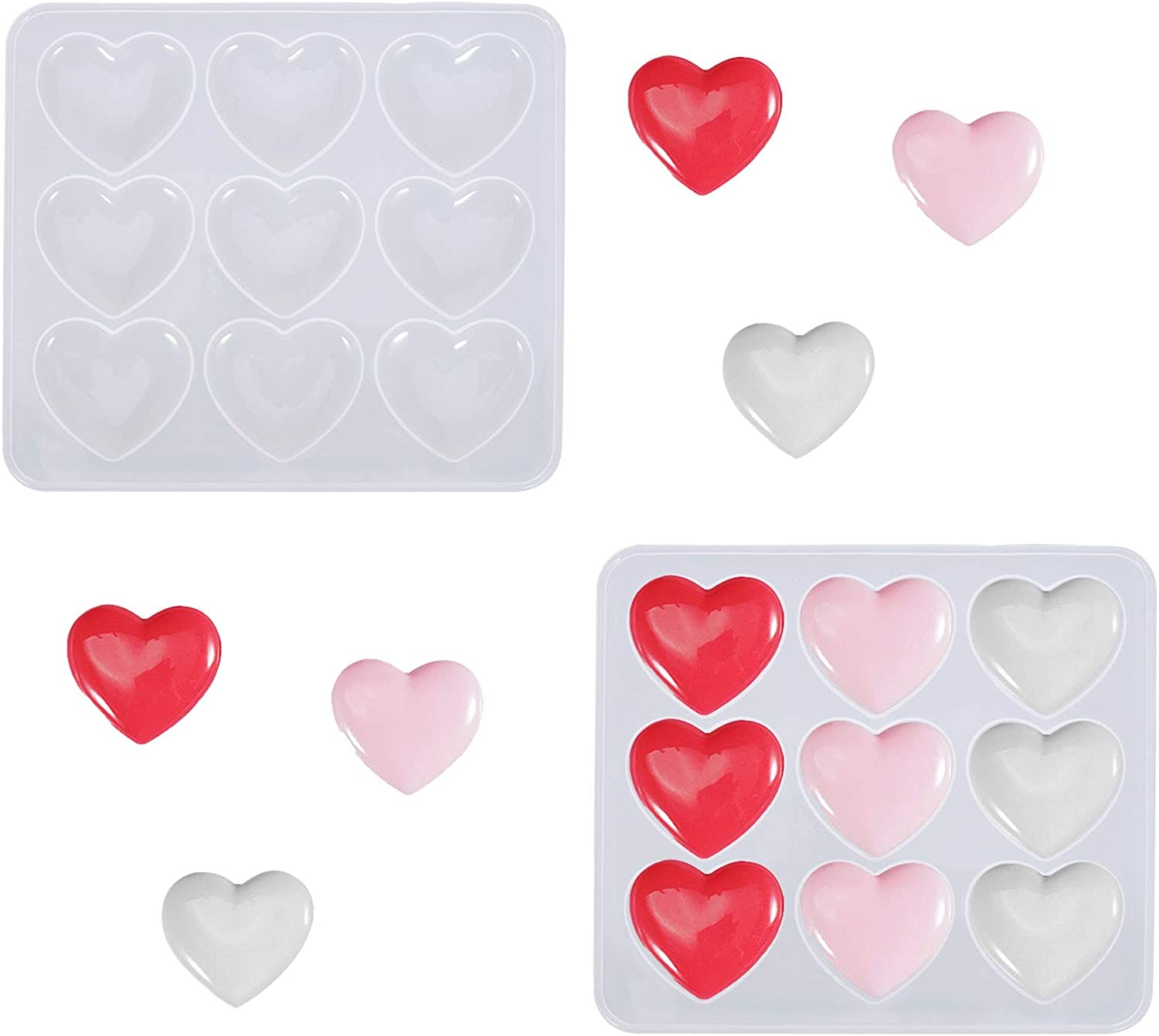 Miss House 2 Pieces Heart Popular standard Shape Max 88% OFF Charms Mold Keychain Resin