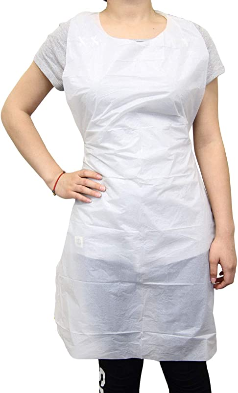 100 Pack Disposable 24 X42 Medium Waterproof Grease Resistant Poly Adult Women Men Bib Apron With Dispenser Box White
