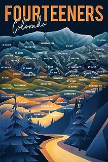 Colorado - Fourteeners - Mountain Range and Names 95240 (12x18 Fine Art Print, Home Wall Decor Artwork Poster)