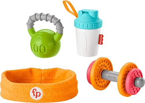 Fisher-Price Gift Set, 4 fitnessthemed toys with wearable costume bib rattle and teether for babies ages 3 months and...