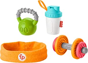 Fisher-Price Gift Set, 4 fitnessthemed toys with wearable costume bib rattle and teether for babies ages 3 months and older, Fisher-Price Baby Biceps