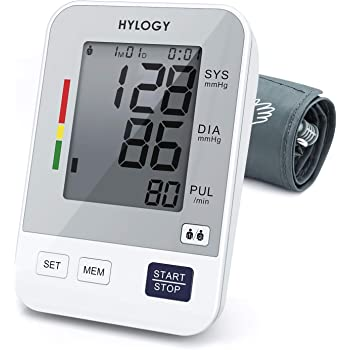 Misuratore Pressione da Braccio Digitale,HYLOGY Sfigmomanometro da Braccio Pressione Arteriosa, Grande Schermo LCD, 2 * 90 Posizioni di Memoria (grigio)