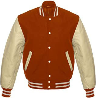 0d1485bf508 Design Custom Jackets Letterman Baseball Varsity Jacket Genuine Leather  Cream Sleeves