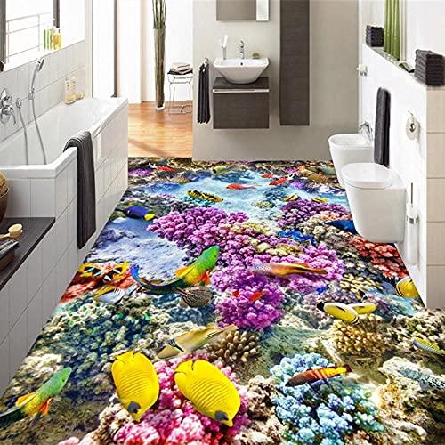 Baño moderno personalizado 3D piso desgaste antideslizante Mural papel tapiz Submarine World Color Coral 3D piso azulejos murales-250x175cm