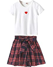 4a390a8b0e0bd 女の子 半袖 ショートパンツ 二点セット 子供服 tシャツ 可愛い ガールズ ミニスカート チェック