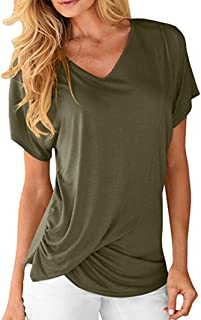 Dubocu Women's V-Neck Short Sleeve Tops Draped Plain Ruched Casual T-Shirts Tee Blouse