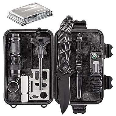 WORSPODAY Emergency Survival Kit - Folding Knife, Paracord Bracelet, Emergency Blanket, Fire Starter, Flashlight, Whistle, Tactical Pen etc - Camping, Hiking, Hunting Survival Gear