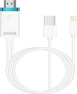 アイフォンHDMI変換ケーブル Lightning to HDMI接続アダプタ iPhoneテレビ変換ケーブル ライトニングHDMI変換アダプター iPad Lightning Digital HDTV AVアダプタ AIWADE最新版iPho...