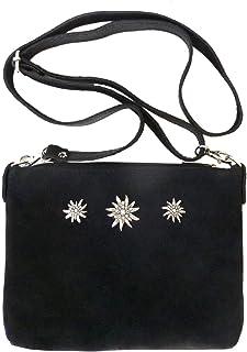 Schuhmacher Kleine Trachtentasche Dirndltasche Umhängetasche Clutch Wild-Leder schwarz