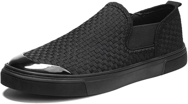 EGS-schuhe Mode Turnschuhe für Mnner Sportschuhe Slip On Style Mesh Material Persnlichkeit Weben Mode Farbabstimmung,Grille Schuhe (Farbe   Schwarz, Gre   43 EU)